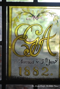 The personalised windows give an insight into the history of the house